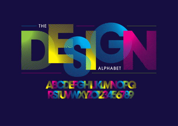 Stripy alphabet Vector of stripy bold font and alphabet alphabet designs stock illustrations