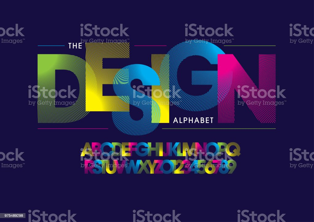 Stripy alphabet vector art illustration