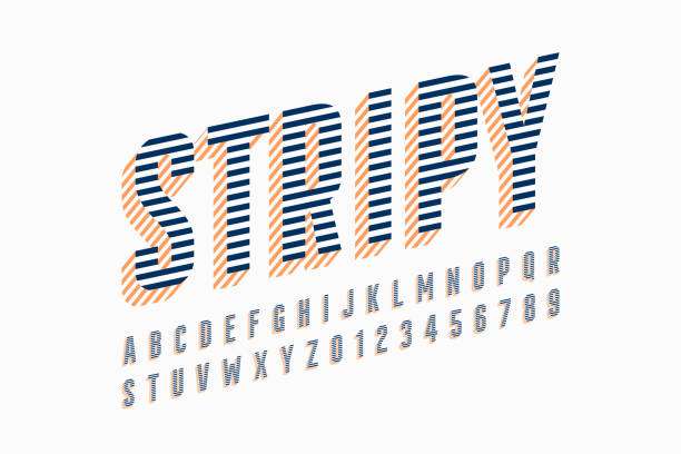 Stripy font vector illustration, alphabet letters and numbers vector art illustration