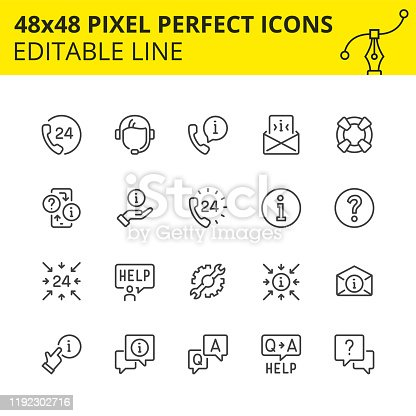 Simple set of icons for technical support and 247 assistance. Get the answer any time or consult with the specialist of our call-center. Contains such Icons as handset, help, operator, headset.