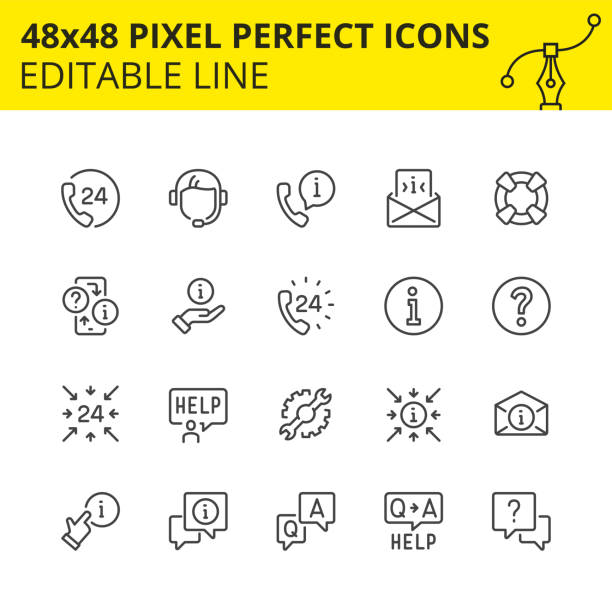 Stroke help and support icons  image. Simple set of icons for technical support and 247 assistance. Get the answer any time or consult with the specialist of our call-center. Contains such Icons as handset, help, operator, headset. faq stock illustrations