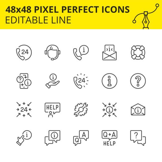 ilustraciones, imágenes clip art, dibujos animados e iconos de stock de imagen de iconos de ayuda y soporte de trazo. - faq