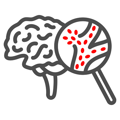 Stroke line icon, Human diseases concept, Cerebral hemorrhage sign on white background, brain disease with magnifier icon in outline style for mobile concept and web design. Vector graphics.