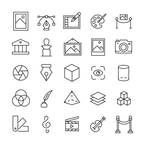 Stroke line icons set of art. Stroke line icons set of art. Simple symbols for app development and website design. Vector outline pictograms isolated on a white background. Pack of stroke icons. cylinder stock illustrations