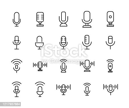 Stroke line icons set of microphone. Simple symbols for app development and website design. Vector outline pictograms isolated on a white background. Pack of stroke icons.
