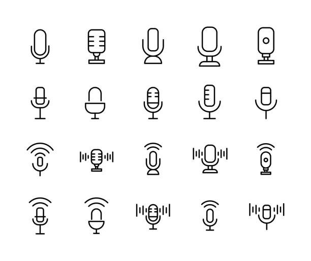 Stroke line icons set of microphone. S Stroke line icons set of microphone. Simple symbols for app development and website design. Vector outline pictograms isolated on a white background. Pack of stroke icons. microphone stock illustrations