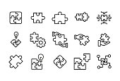 Stroke line icons set of solution. Simple symbols for app development and website design. Vector outline pictograms isolated on a white background. Pack of stroke icons.