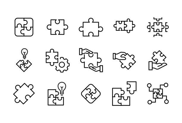 ソリューションのストロークライン アイコン セット。 - パズル点のイラスト素材/クリップアート素材/マンガ素材/アイコン素材