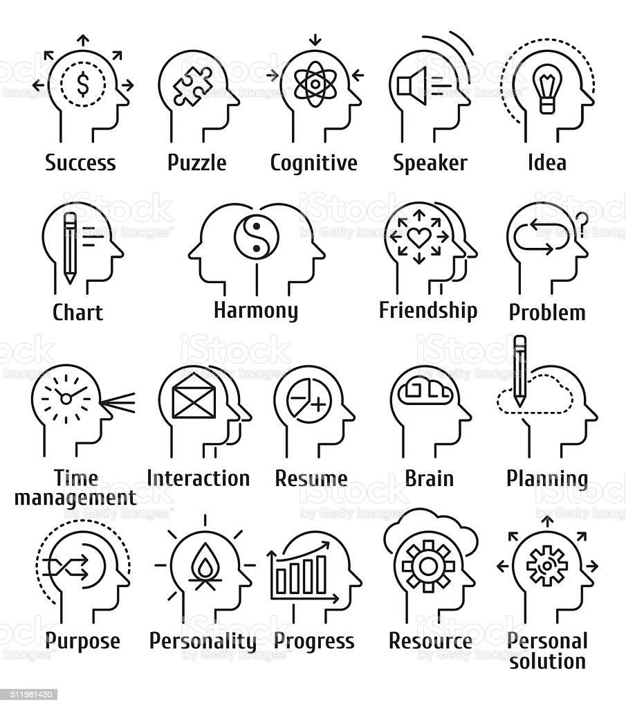 Stroke line pictogram icons set of human brain working. vector art illustration