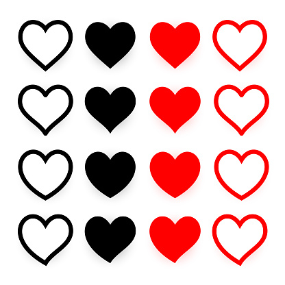 Stroked heart icons. Black and red heart icon set.