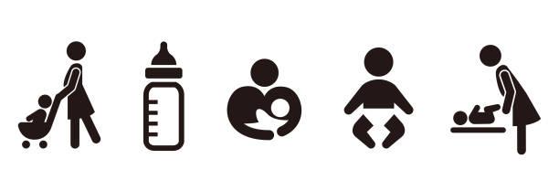 ベビーカーアイコンベビープッシュベクトル - 保育点のイラスト素材/クリップアート素材/マンガ素材/アイコン素材