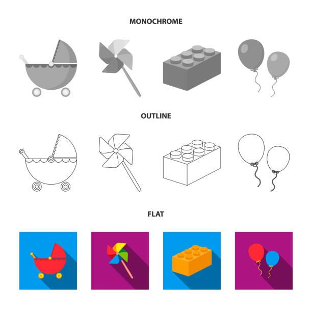kinderwagen, windmühle, lego, luftballons. spielzeug stellen sammlung icons in flach, gliederung, monochromen stil vektor symbol lager abbildung web. - flat icons stock-grafiken, -clipart, -cartoons und -symbole