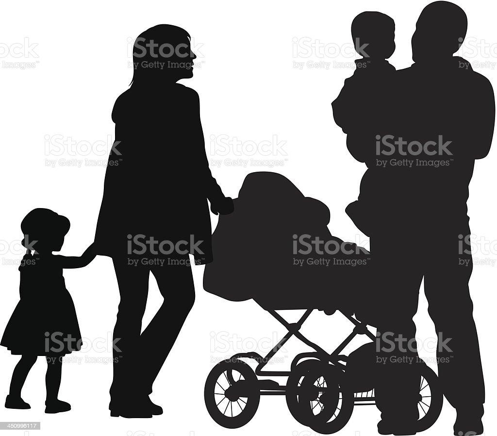 Stroller'n Family royalty-free stock vector art