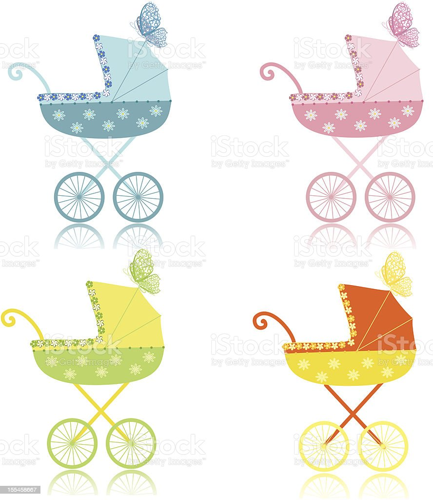 strollers vector art illustration