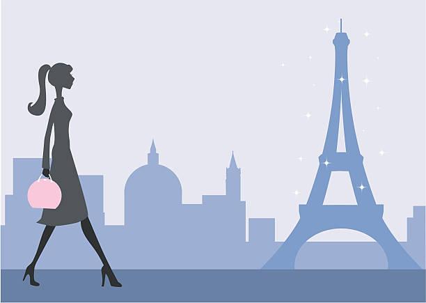 Strolling in Paris vector art illustration