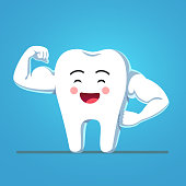 Cheerful funny cartoon tooth character showing sturdy enamel biceps. Strong and healthy bodybuilder tooth metaphor. Motivational clipart. Children dentistry character. Flat vector isolated illustration