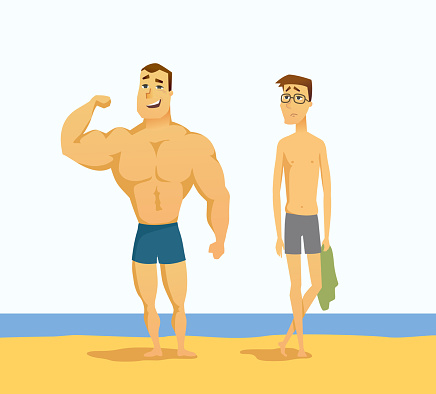 Strong and weak men - cartoon people character isolated illustration