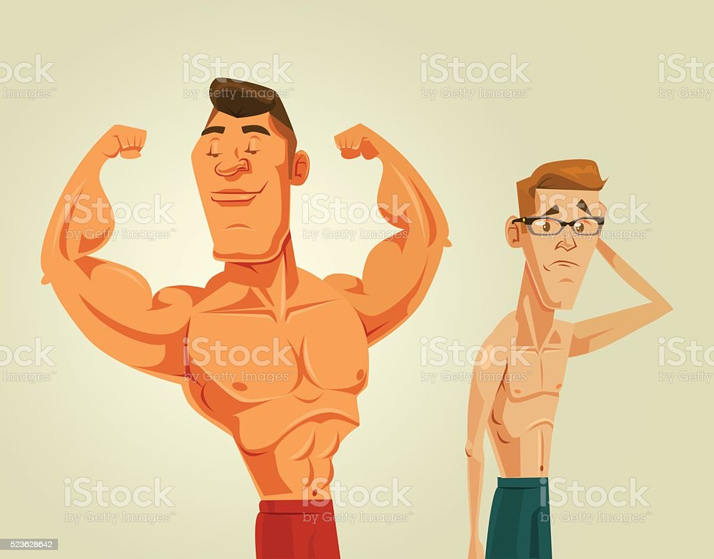 Strong and weak men. Vector flat cartoon illustration vector art illustration