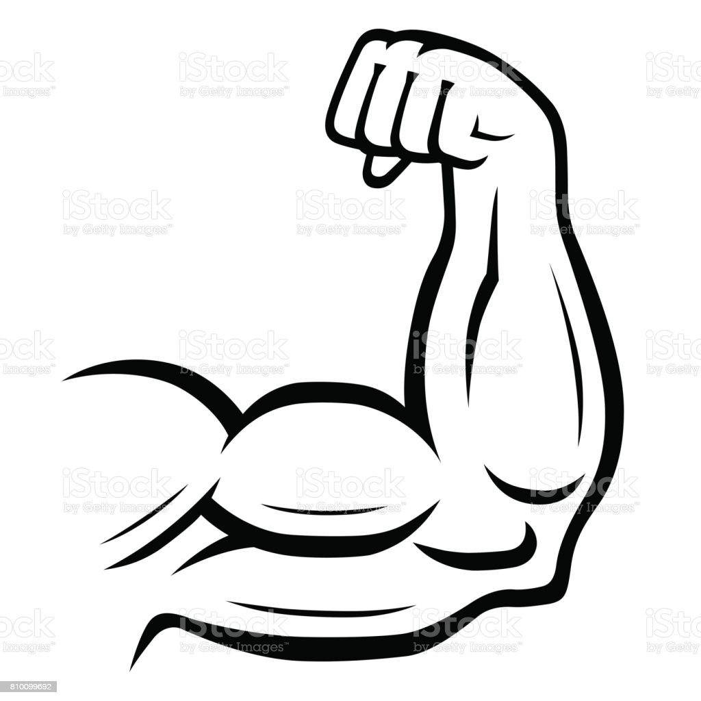 Strong arm icon. Fitness, bodybuilding concept vector art illustration