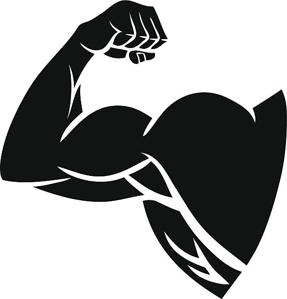 Strong Arm Silhouette vector art illustration