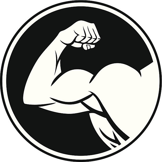 strong arm symbol - cartoon muscle arms stock illustrations, clip art, cartoons, & icons