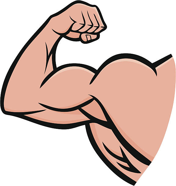 strong arm - cartoon muscle arms stock illustrations, clip art, cartoons, & icons