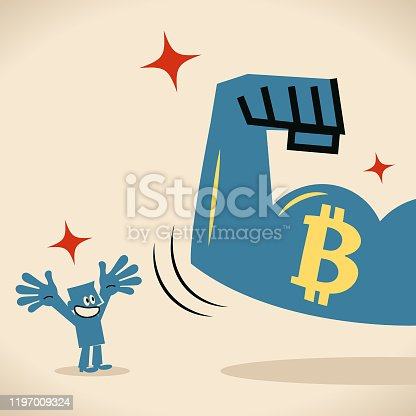 istock Strong arm with biceps showing bitcoin (Cryptocurrency) sign to blue man 1197009324