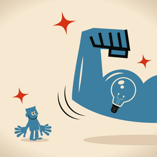 Strong arm with biceps showing idea light bulb to blue man vector art illustration