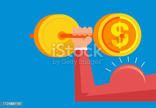 Strong arms lift huge gold coins