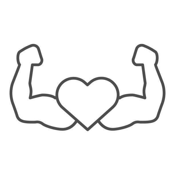 Strong athlete hands line and solid icon. Heart with muscle arms symbol, outline style pictogram on white background. Healthy lifestyle or fitness sign for mobile concept, web design. Vector graphics. Strong athlete hands line and solid icon. Heart with muscle arms symbol, outline style pictogram on white background. Healthy lifestyle or fitness sign for mobile concept, web design. Vector graphics active lifestyle stock illustrations