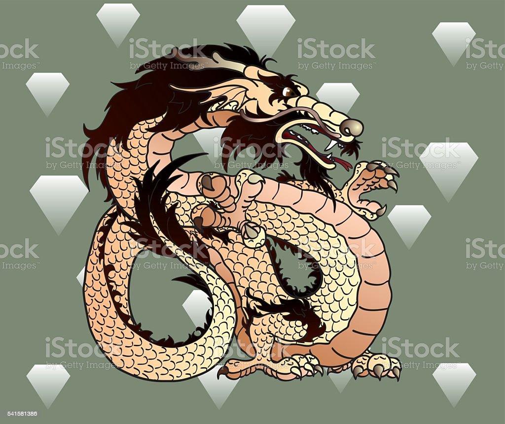 Прочные бежевый земля азиатские dragon с бриллиантами векторная иллюстрация