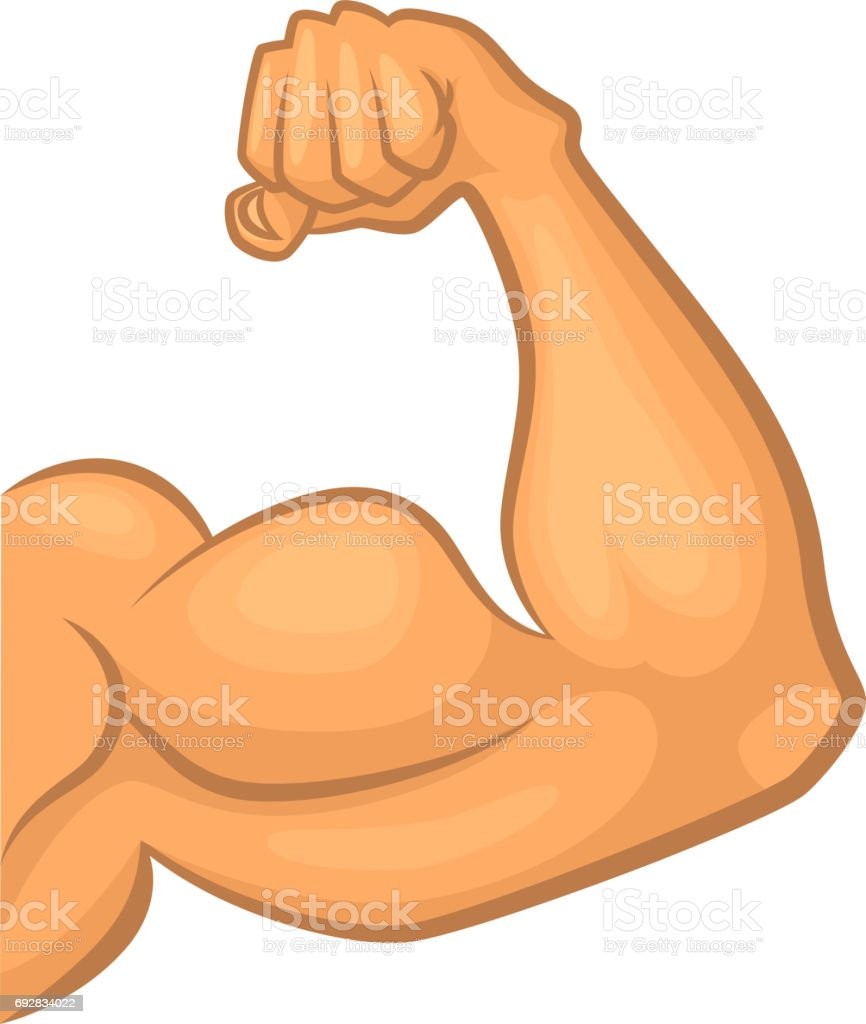 Strong biceps. Gym vector symbol isolate. Cartoon illustration vector art illustration