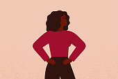 Strong black female with hands on her hips looks forward. Confident African American Businesswoman or entrepreneur supports the feminism movement. Vector illustration