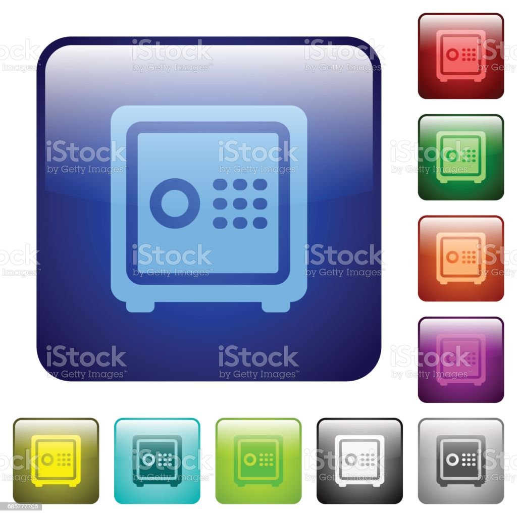 Strong box color square buttons royalty-free strong box color square buttons stock vector art & more images of applying