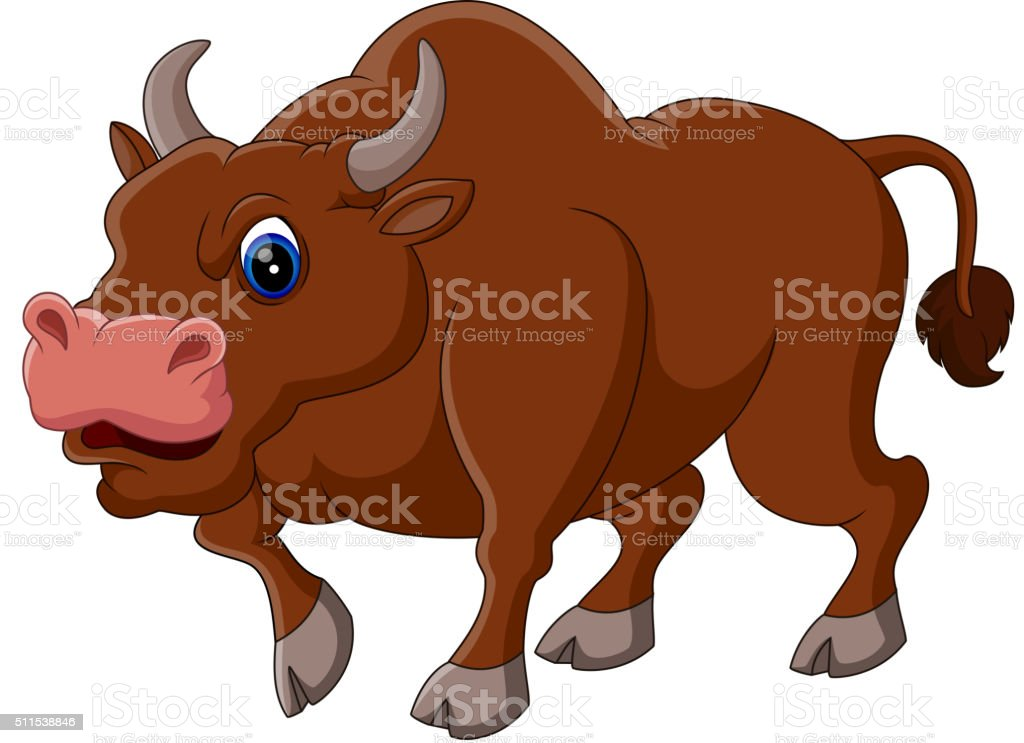 Strong bull cartoon vector art illustration