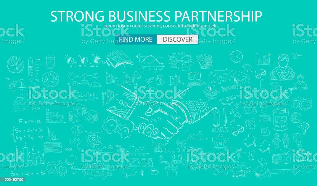 Strong Business Partnership concept wih Doodle design style vector art illustration