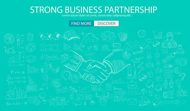 Strong Business Partnership concept wih Doodle design style vector art illustration