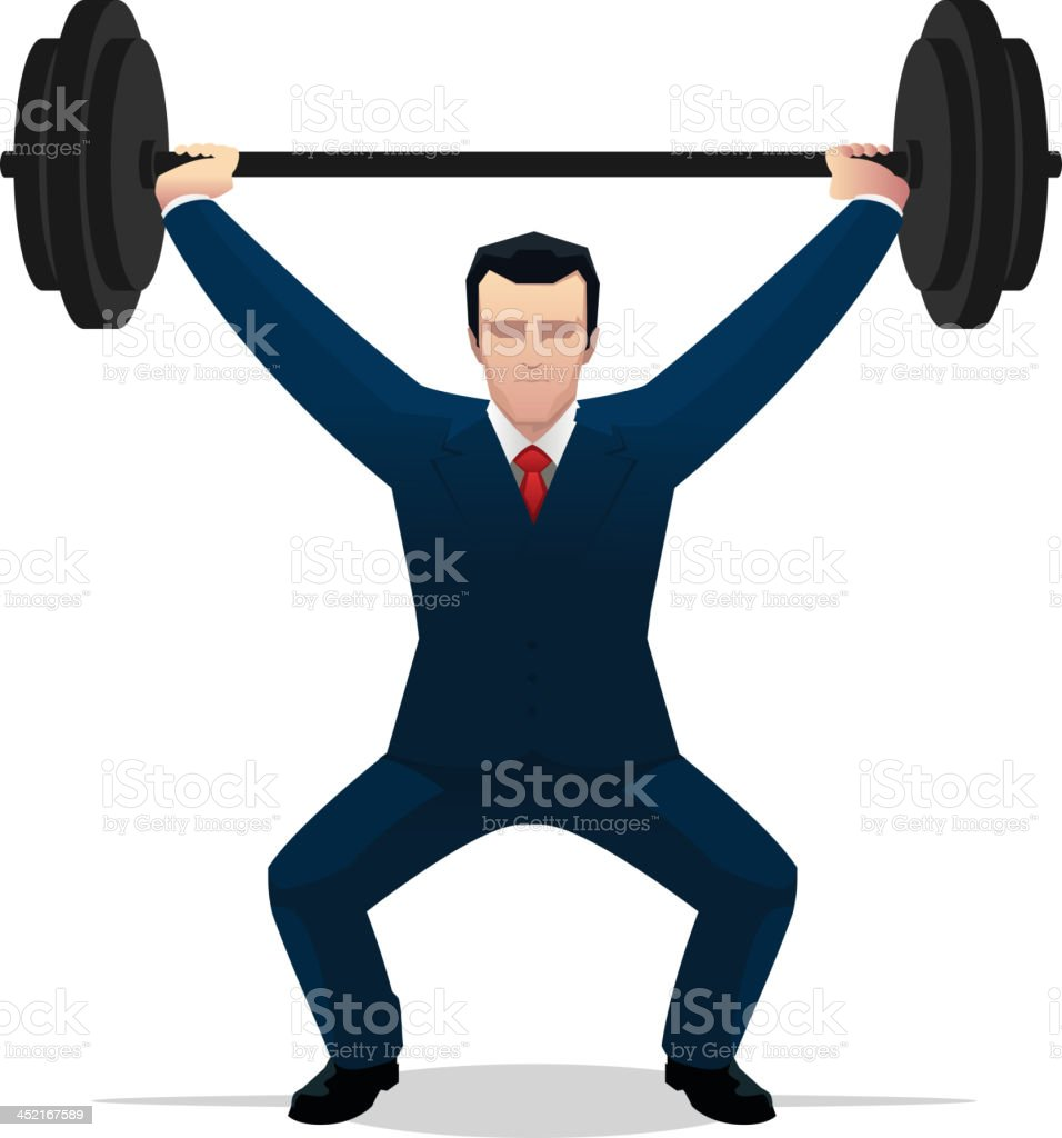 Strong Businessman lifting weight royalty-free stock vector art