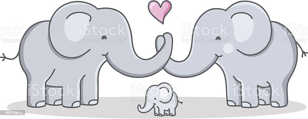 Strong Cohesive Family Cartoon Elephant Love Stock Vector