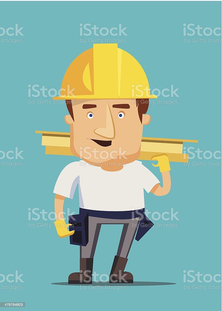 Strong construction worker building iron real estate vector illustration vector art illustration