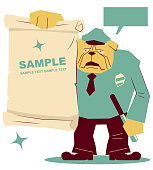 Unique Characters Full Length Vector art illustration. Strong dog police officer wearing uniform showing a blank paper (sign).