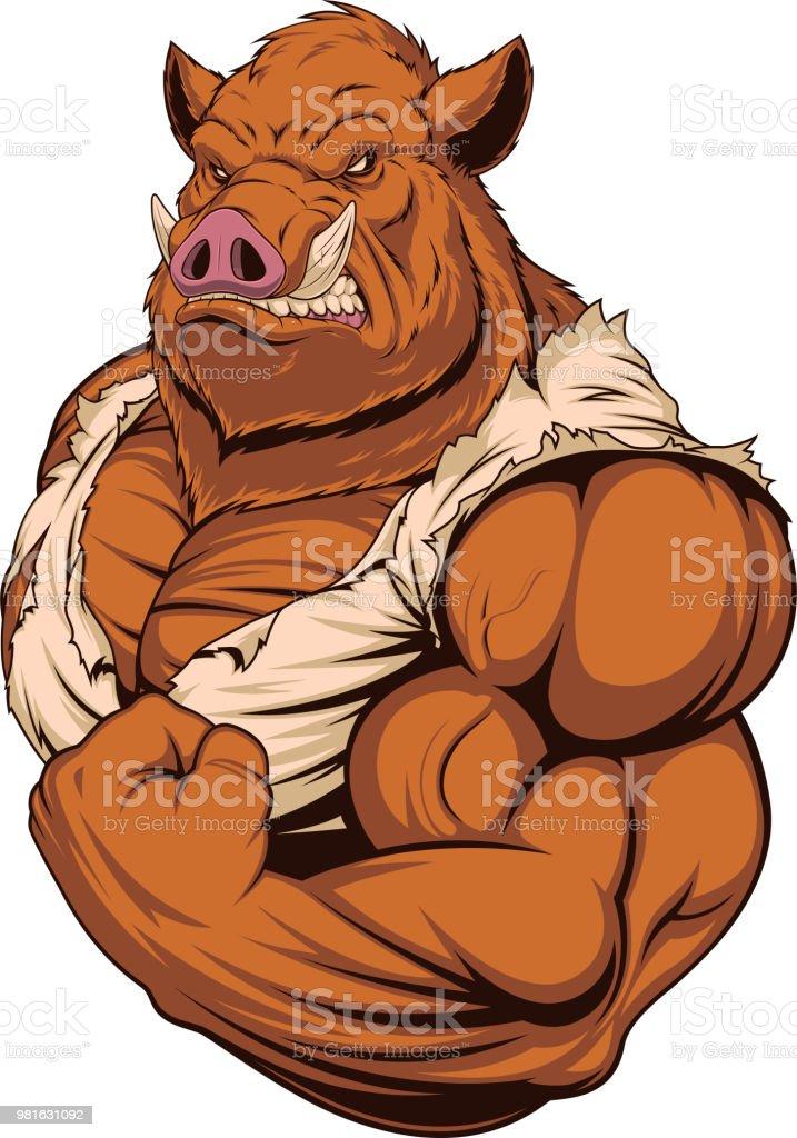 Strong ferocious boar vector art illustration