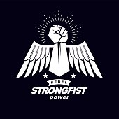 Strong fist of a muscular man vector illustration. Best fighter vector symbol, triumph concept.Strong fist of an active sportsman vector symbol created using eagle wings and stars. Fighting club abstract emblem.
