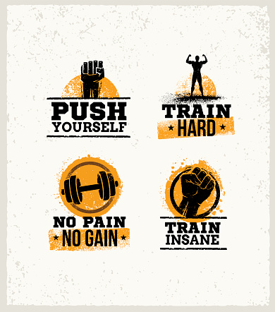 Strong Fitness Gym Workout Motivation Design Elements. Sport Fit Sign Vector On Rough Background