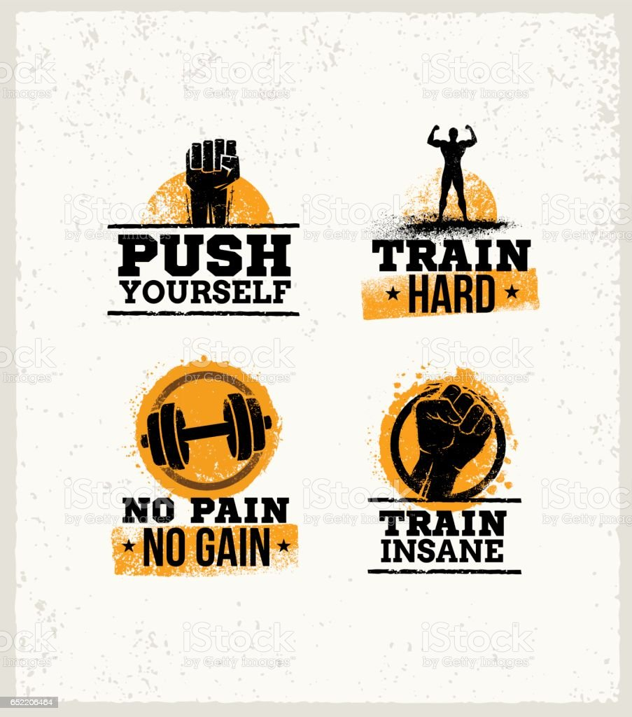 Strong Fitness Gym Workout Motivation Design Elements. Sport Fit Sign Vector On Rough Background vector art illustration