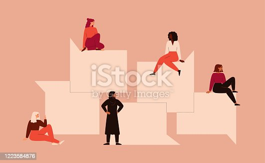 istock Strong girls different nationalities and cultures sit near the big speech bubbles. 1223584876