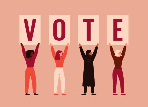 stockillustraties, clipart, cartoons en iconen met de sterke meisjes verschillende nationaliteiten en culturen bevinden zich samen en heffen affiches met woord stem op. - vote