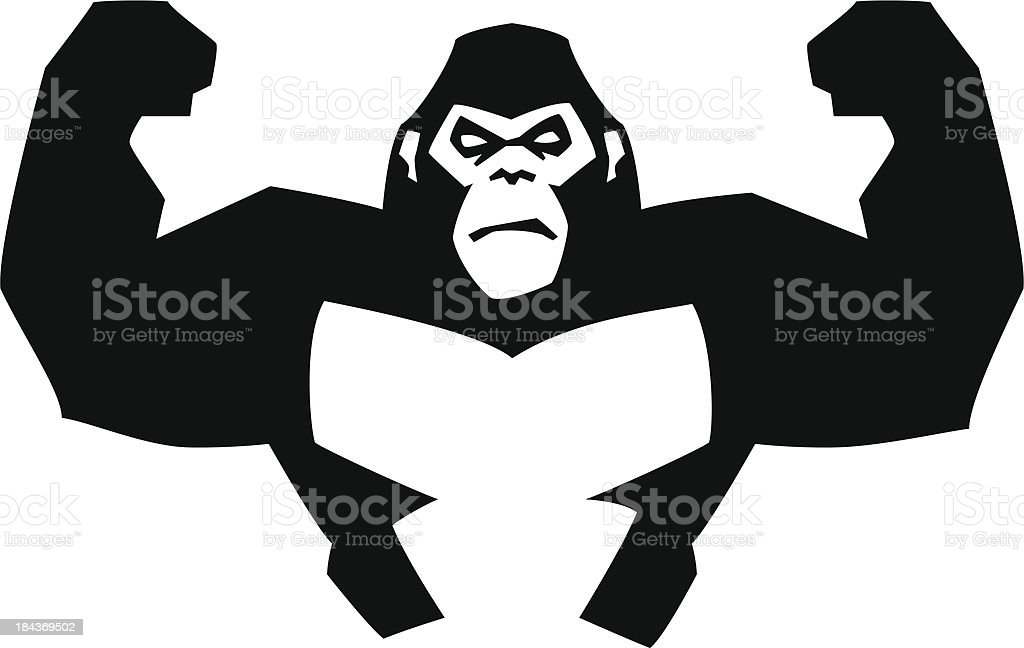 strong gorilla vector art illustration