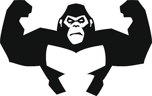 ilustraciones, imágenes clip art, dibujos animados e iconos de stock de gorila fuerte - gorila