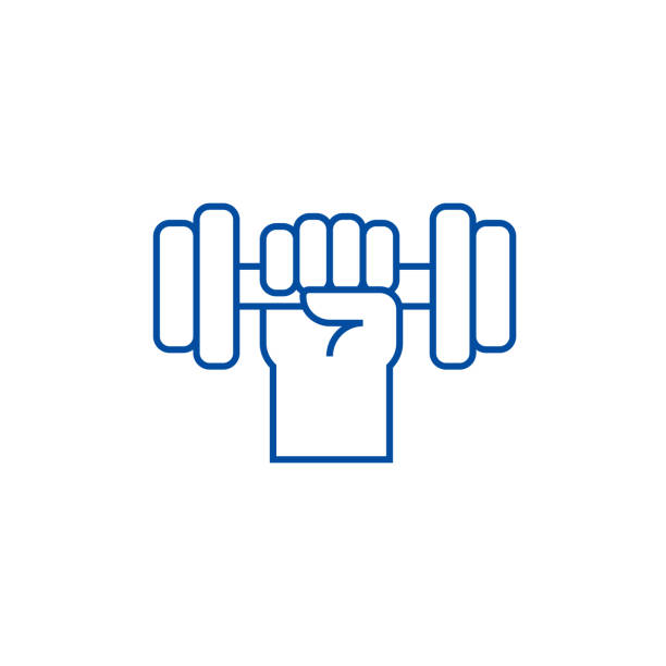 Strong hand with dumbbell line icon concept. Strong hand with dumbbell flat  vector symbol, sign, outline illustration. Strong hand with dumbbell line concept icon. Strong hand with dumbbell flat  vector website sign, outline symbol, illustration. weight stock illustrations